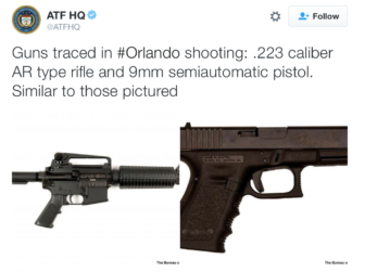 A tweet from the federal bureau of Alcohol, Tobacco, Firearms and Explosives identifying the type of guns used in the Orlando slayings.