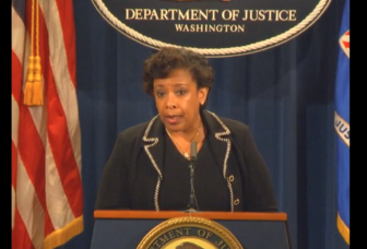 U.S. Attorney General Loretta Lynch announces antitrust lawsuits against mergers involving two Hartford insurers.