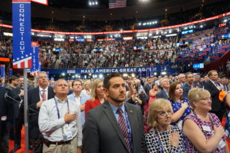 From left in front row, Connecticut delegates J.R. Romano, Patricia Longo and Mary Ann R. Turner.