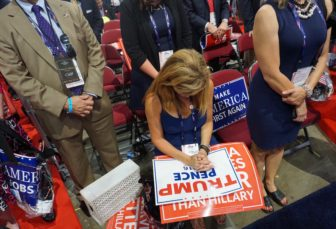 Annallisa Stravato prays as the third night of Republican National Convention closes with a benediction.