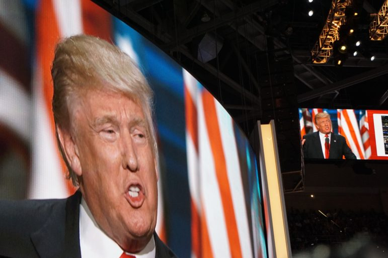 Donald J. Trump was larger than life on video screens at the Republican National Convention.