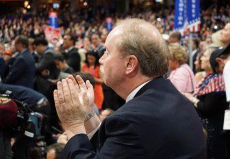 Sen. Mike McLachlan applauds Trump.