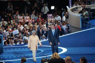 Gov. Dannel P. Malloy exits the stage with former Atlanta Mayor Shirley Franklin, his Platform Committee co-chair.