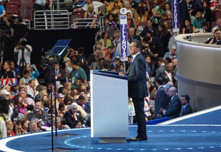 Gov. Dannel P. Malloy addresses the Democratic National Convention.