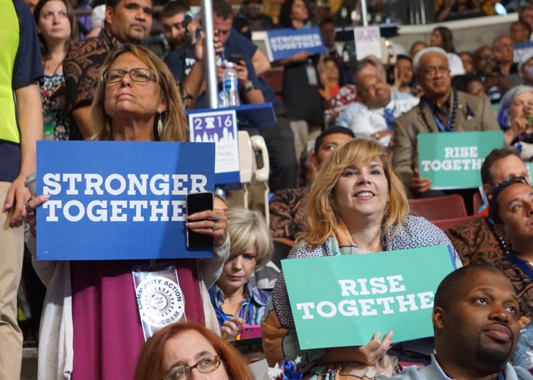 Julie Kusher, left, a Clinton delegate and co-chair of the Working Families Party, is reaching out to Sanders delegates.