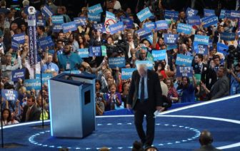 Bernie Sanders exits the stage.