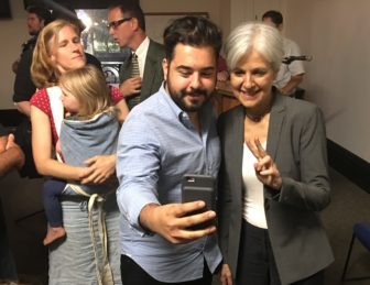 A supporter takes a selfie with Green Party presidential candidate Jill Stein campaigning in Stamford in July.