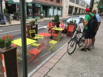 Street dining in the Ninth Square