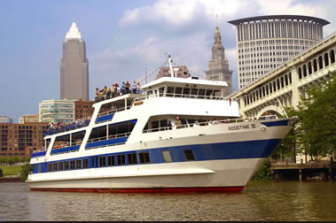 The Goodtime III on the Cleveland waterfront.