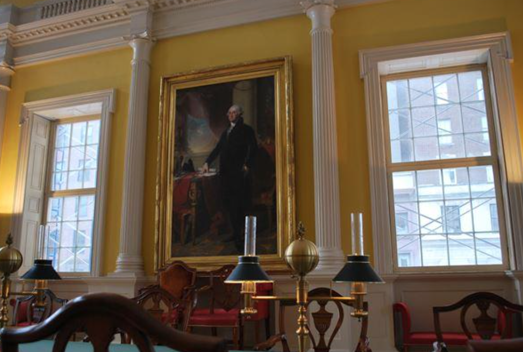 The Gilbert Stuart painting of George Washington in the Old State House.
