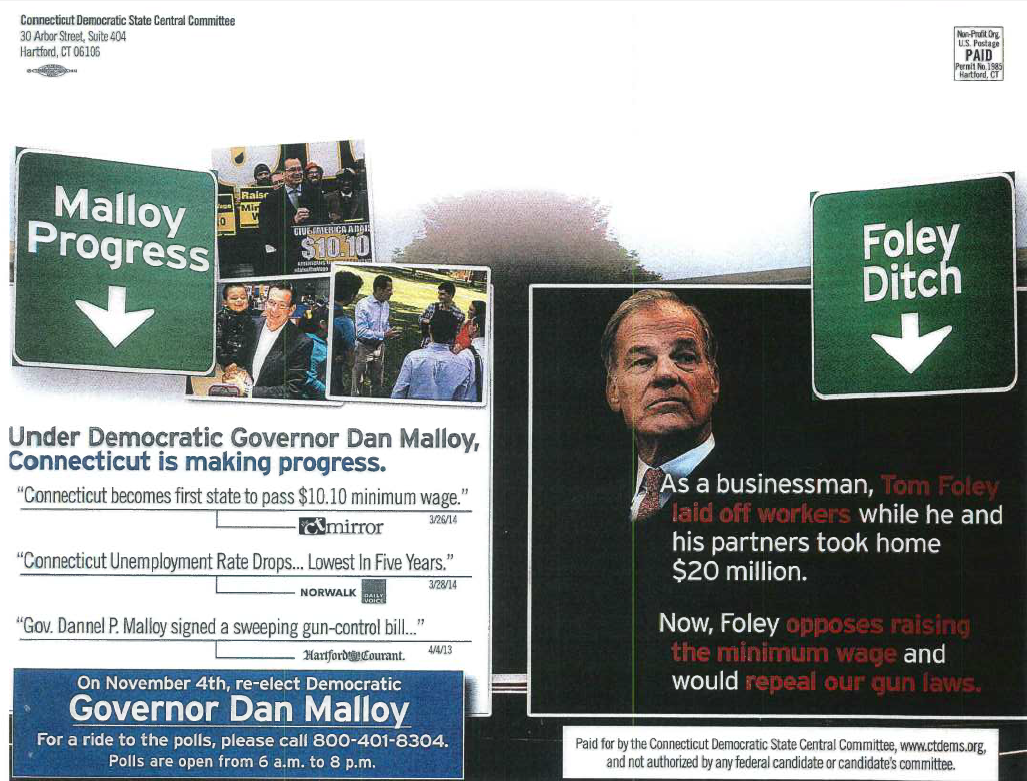 One of the mailers that kicked off an investigation into Democratic Party fund-raising for the 2014 election.