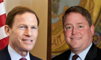 Sen. Richard Blumenthal, left, and State Rep. Dan Carter.