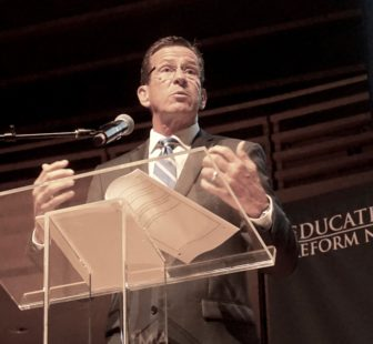 Gov, Dannel P. Malloy was a featured speaker before a charter school group in Philadelphia.