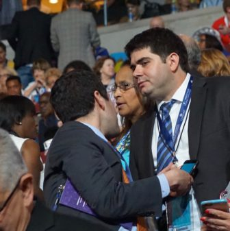 Devon Puglia, right, at the Democratic National Convention with Mike Mandell, director of the state party.