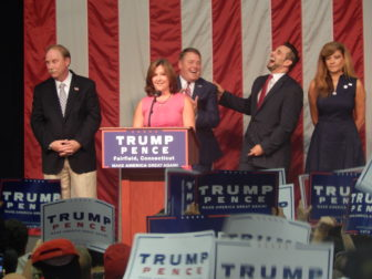 State Republican leaders speak at Donald Trump's rally in Fairfield Friday night. From left to right: State Sen. Michael McLachlan, R-Danbury, Fairfield Selectwoman Laurie McArdle, State Rep. Dan Carter, R-Bethel, CT GOP Chairman J.R. Romano and CT GOP Vice Chairwoman Annalisa Stravato.