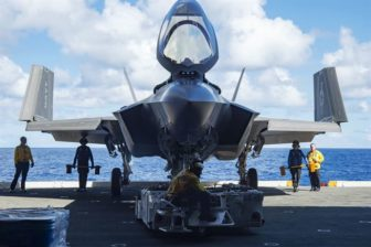 Sailors move an F-35C, the carrier version of the joint strike fighter, during sea trials aboard the USS Dwight D. Eisenhower last year.