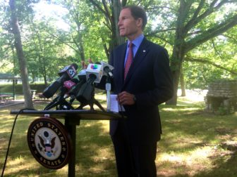 U.S. Sen. Richard Blumenthal holds a press conference in East Hartford to call for legislative action to combat the Zika virus.