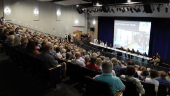 More than 500 people turned out at Lyme-Old Lyme High School Wednesday afternoon for a meeting on a proposed rail bypass that would run through Old Lyme's historic district.