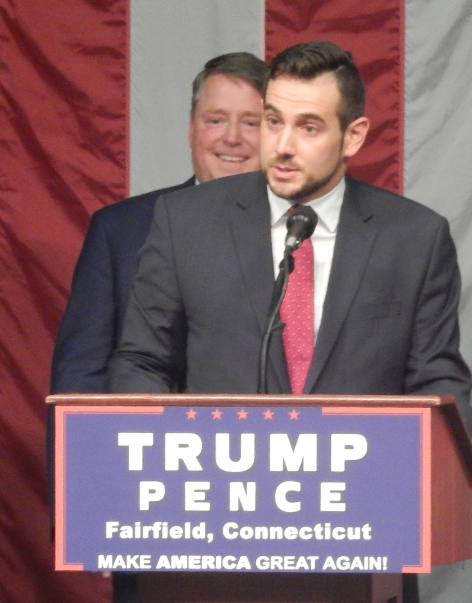 Connecticut Republican Party Chairman J.R. Romano, front, speaks during Donald J. Trump's presidential rally in Fairfield. He is joined by state Sen. Michael McLachlan, R-Danbury, left, state Rep. Dan Carter, R-Bethel, center, and Connecticut Republican Party Vice Chairwoman Annalisa Stravato.