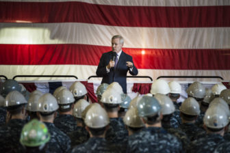 Secretary of the Navy Ray Mabus meets with sailors and shipyard employees at General Dynamics Electric Boat in Groton after a pre-commissioning tour of the Virginia-class attack submarine Illinois in 2014.