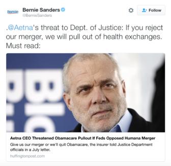 Seen. Bernie Sanders tweet, which pictures Aetna CEO Mark Bertolini.