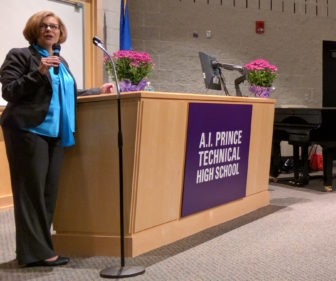 Dianna Wentzell, CT's education chief, delivers a pep talk to superintendents of schools.