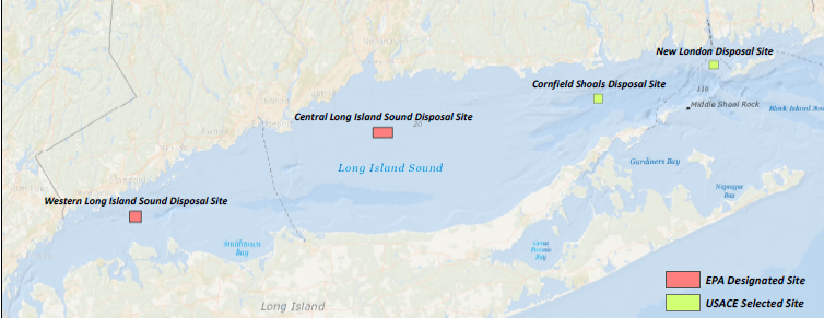 The four disposal sites in Long Island Sound.