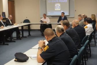 Malloy, Ganim and law enforcement officials at Troop G.
