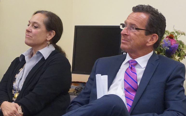 DCF Commissioner Joette Katz and Gov. Dannel P. Malloy last fall during a press conference to celebrate the successes of kinship care.