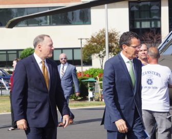 Sikorsky President Dan Schultz and Gov. Dannel P. Malloy.