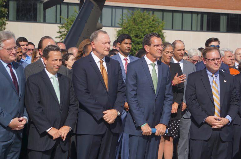 From left, Rep. J. Brendan Sharkey, Sen. Bob Duff, Dan Schultz, Gov. Dannel P. Maloy and Mayor John Harkin.