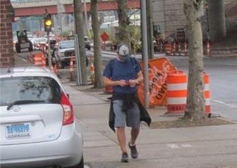 Murphy walking through New Haven