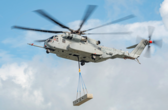 Sikorsky's new heavy lift helicopter in flight testing.