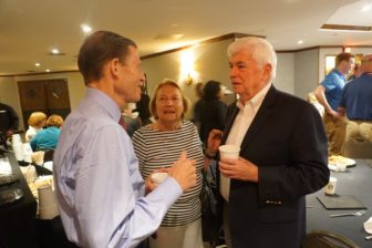 Chris Dodd chatting with old friends, Richard Blumenthal and Barbara Kennelly at the Democratic National Convention In July, before his MPAA contributed $28,535 to a GOP PAC supporting a campaign to defeat Connecticut Democrats.
