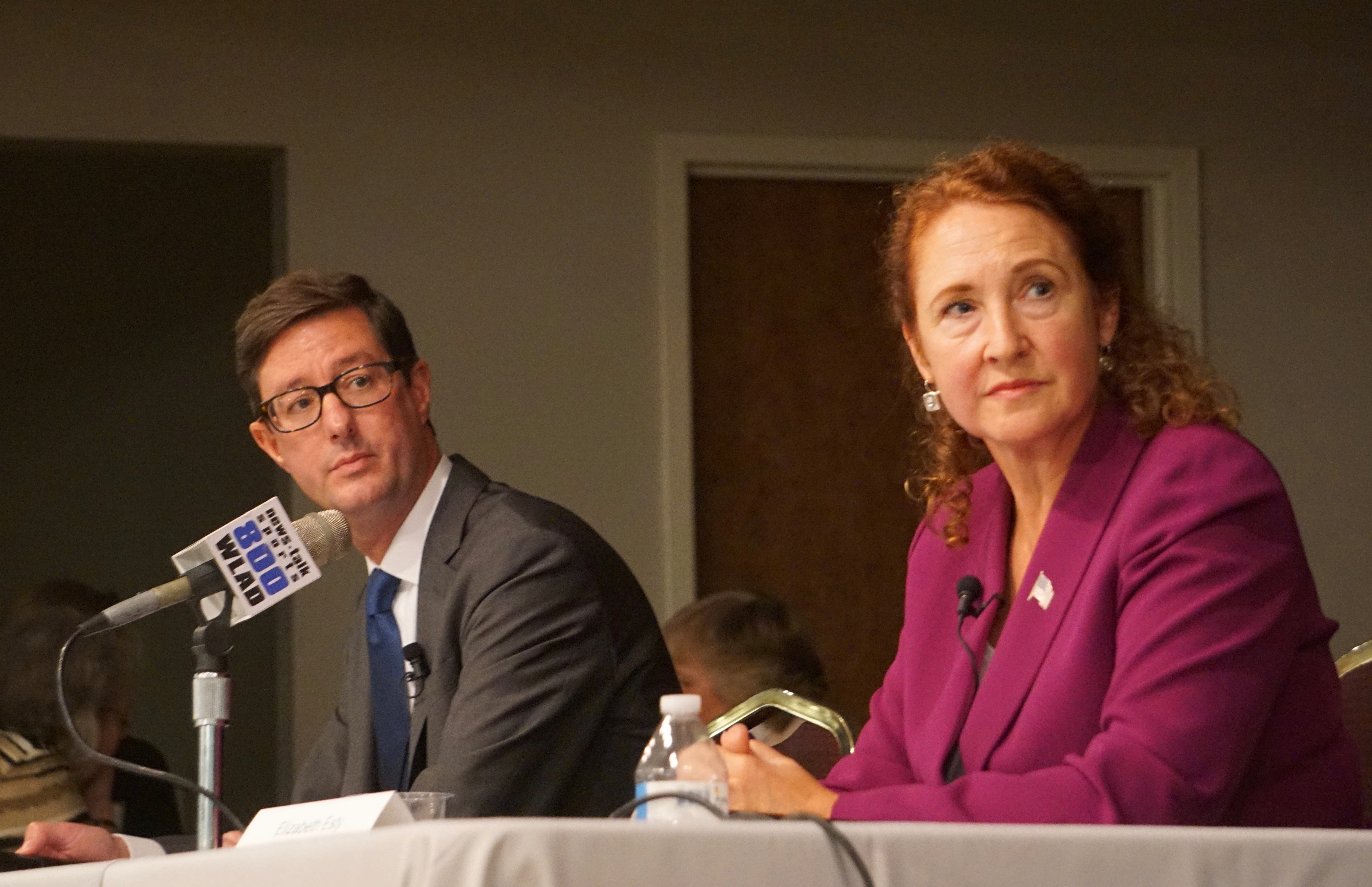 Esty and Cope disagree, if amiably, on gun control and climate change