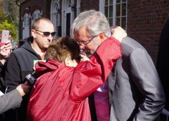 Betty Boukus hugs William Petit.