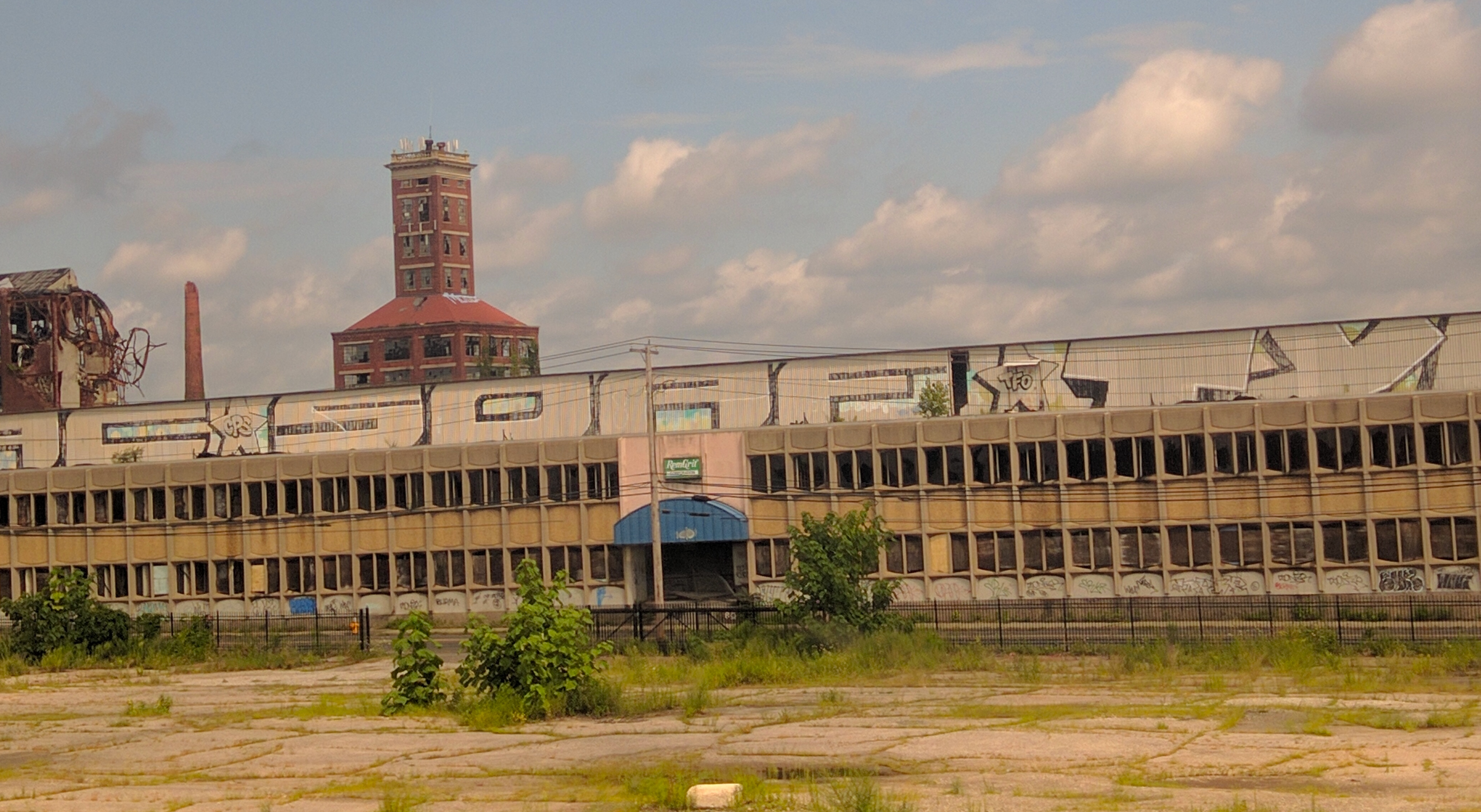 A derelict factory building in Bridgeport in August.