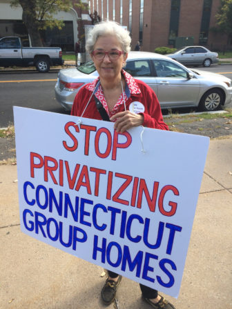 Lindsay Mathews, a parent of a DDS client displaced from a state-run group home in Hamden, joined Thursdays rally.