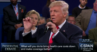 Click to view the candidates' exchange on health care costs during the second presidential debate.