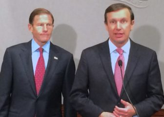 U.S. Sens. Richard Blumenthal, left, and Chris Murphy talk to reporters on the impact of Trump's victory.