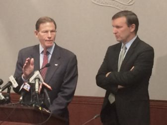 Senators Richard Blumenthal, left, and Chris Murphy, discuss their priorities for the lame-duck session of Congress at a news conference Monday.