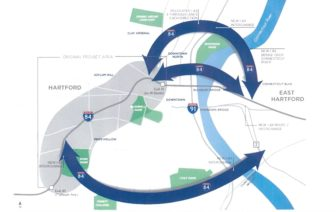 Three conceptual routes the Connecticut Department of Transportation is studying to address congestion at the I-91 and I-84 intersection.