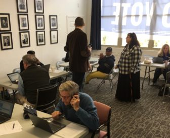 Volunteers at a Democratic phone bank in Hartford.