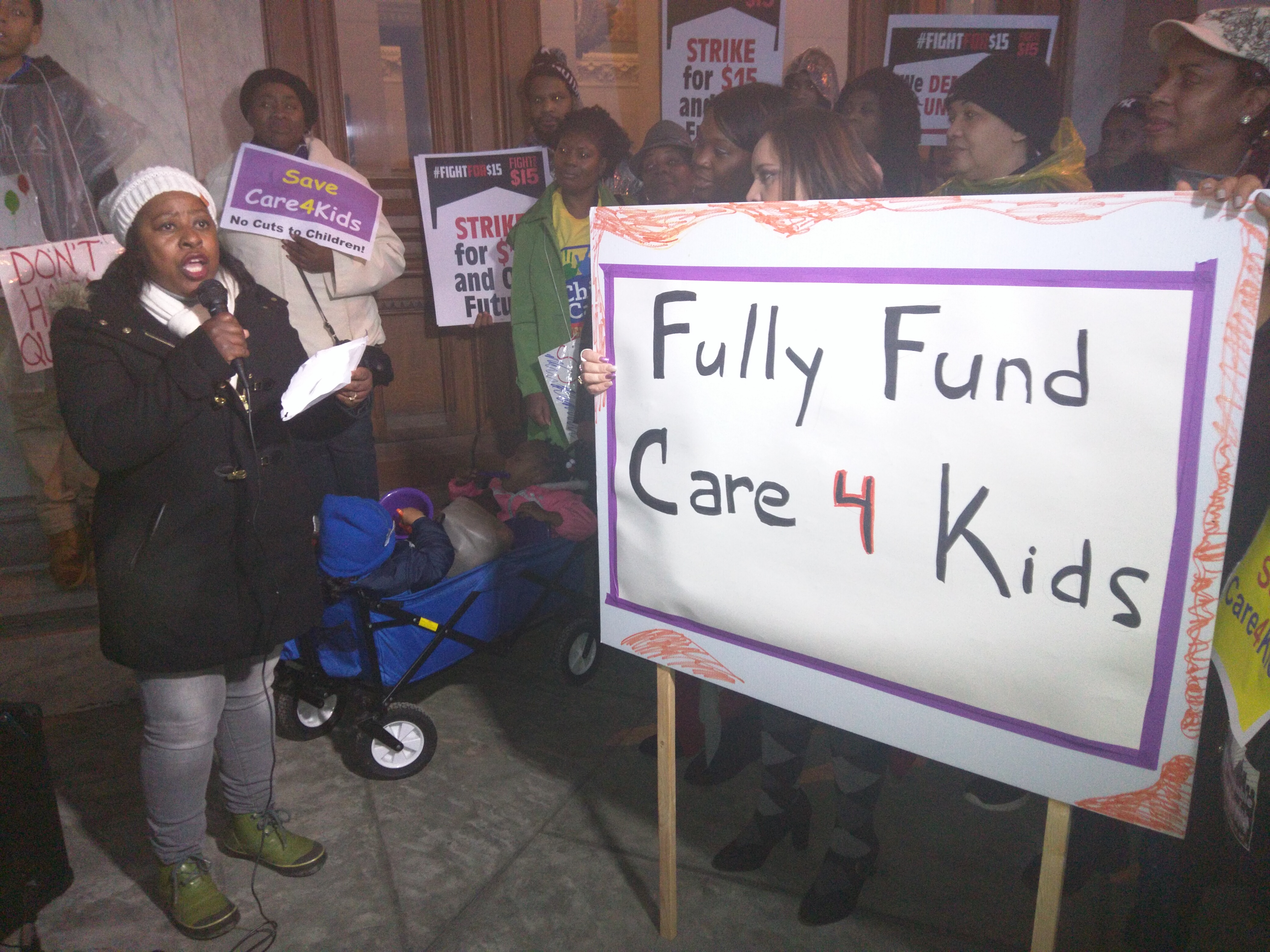 Freelove Queen of New Haven during a rally at the state Capitol about the cuts to the state's child care subsidy program.