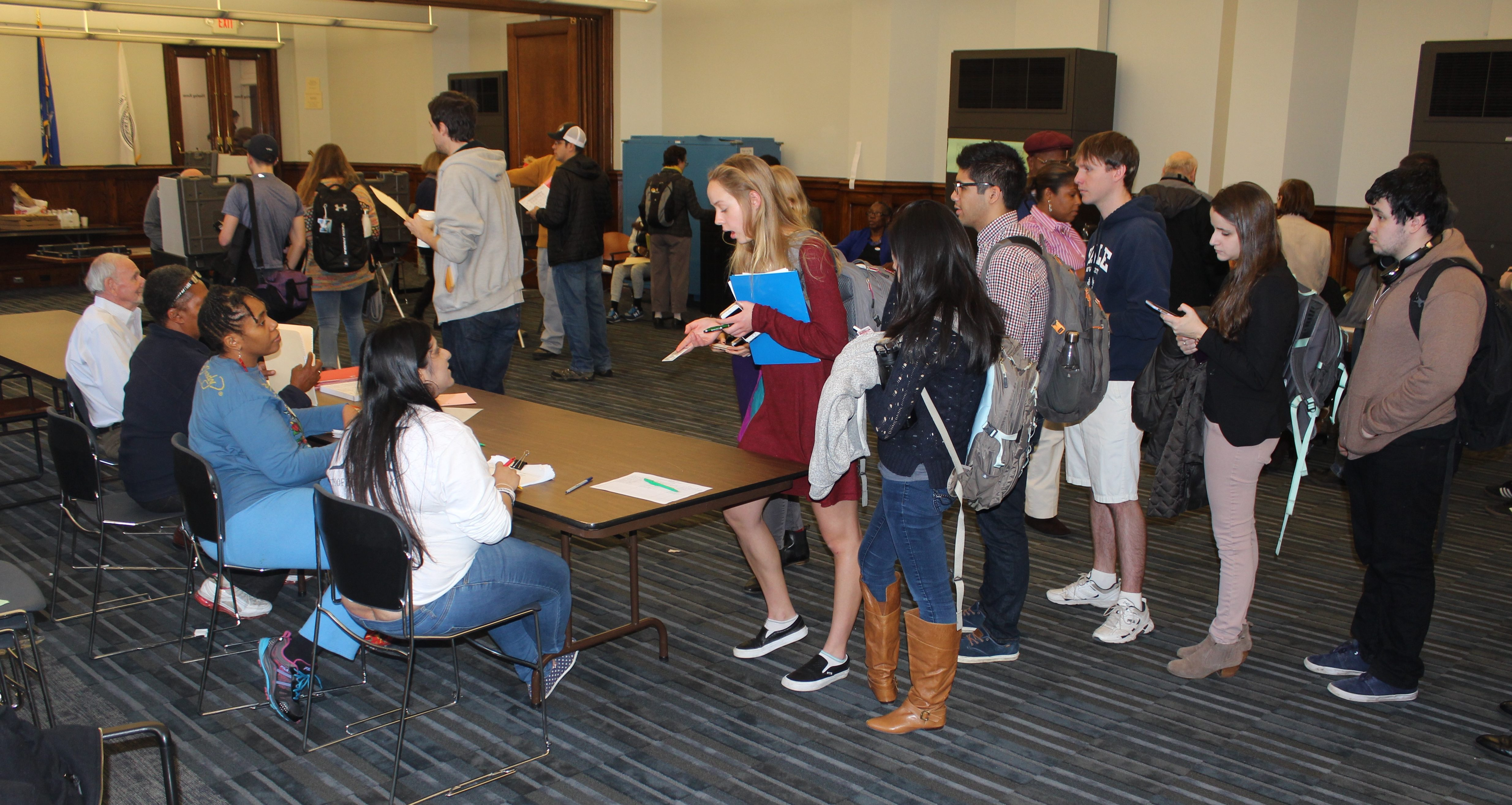 The first-time voters line filled with Yale students