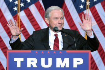 U.S. Sen. Jeff Sessions of Alabama at an August speech on immigration policy hosted by Donald Trump in Phoenix.