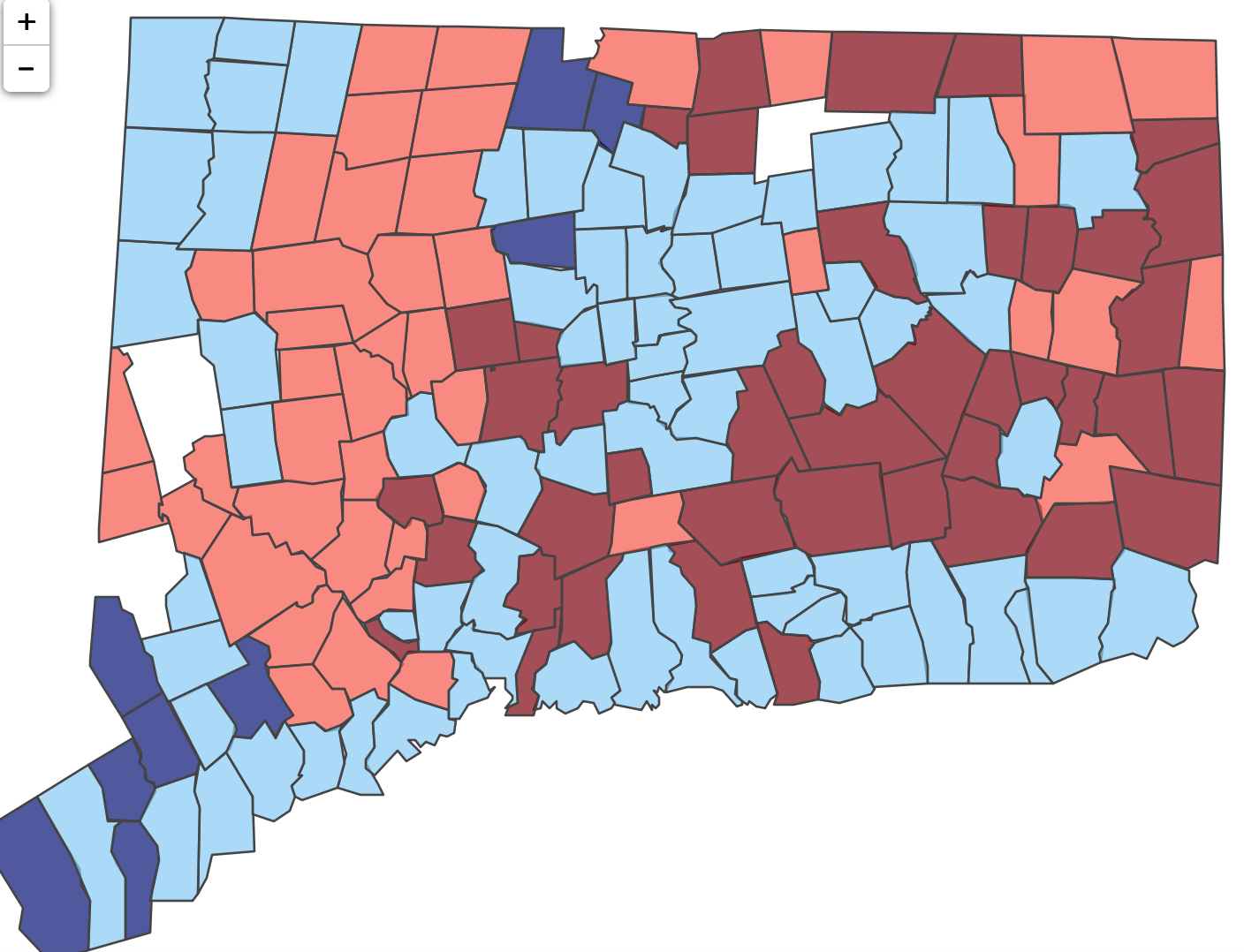 About 50 towns flipped in 2016 presidential vote