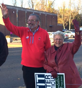 Dr. William Petit and supporter Nancy Blanchette of Bristol at Our Lady of Mercy parish center in Plainville.