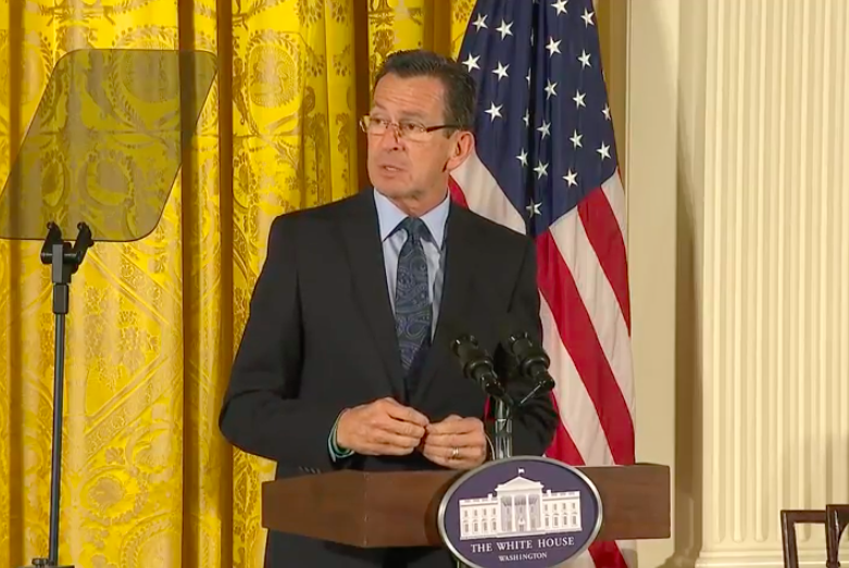At White House, Malloy joins Michelle Obama in pitch to Trump