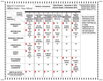 A sample ballot for polling places in the 7th district in Hartford.